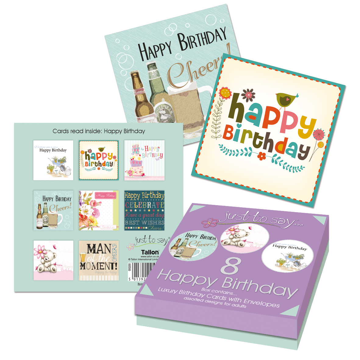 BOXED 8 ASSORTED BIRTHDAY CARDS